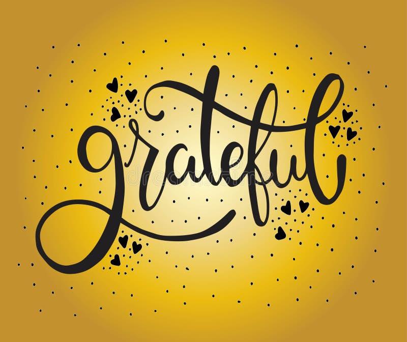 Dankbaar - hand het van letters voorzien, hand getrokken kaart, vectorillustratie vector illustratie