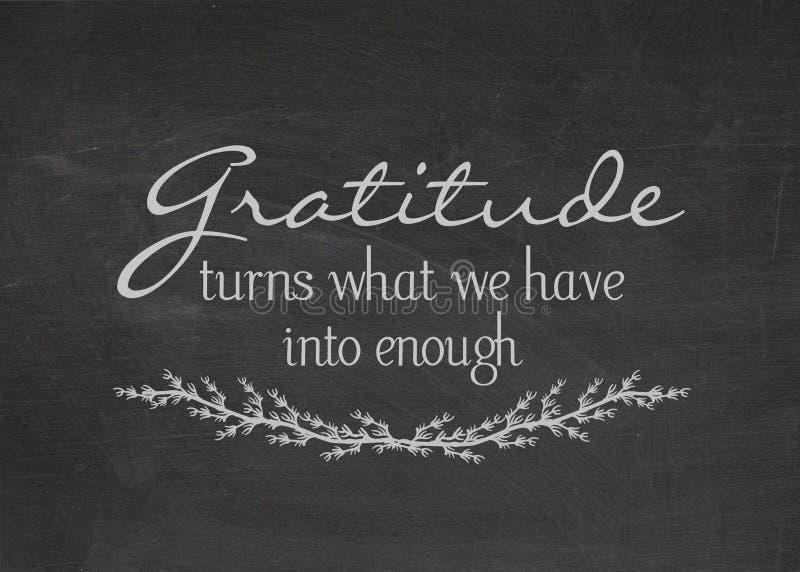 Dankbaarheidscitaat op bord vector illustratie