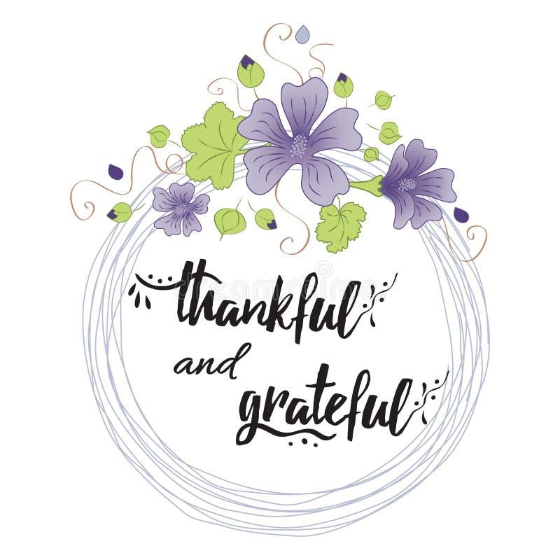 Dankbare dankbare Hand gezeichneter Text in Blumenkranz lizenzfreie abbildung