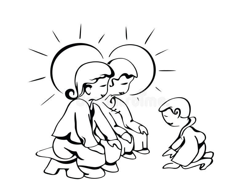Dankbare godvruchtigheidzoon stock illustratie