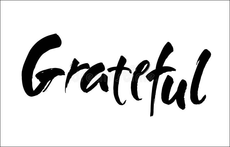 Dankbare hand getrokken prentbriefkaar Het vector van letters voorzien voor Thanksgiving day Inktillustratie Moderne borstelkalli stock illustratie