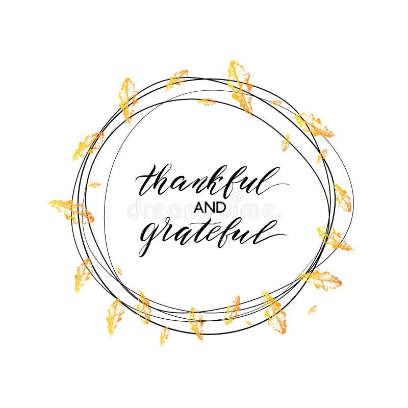 Dankbarer und dankbarer Text im Herbstkranz stock abbildung