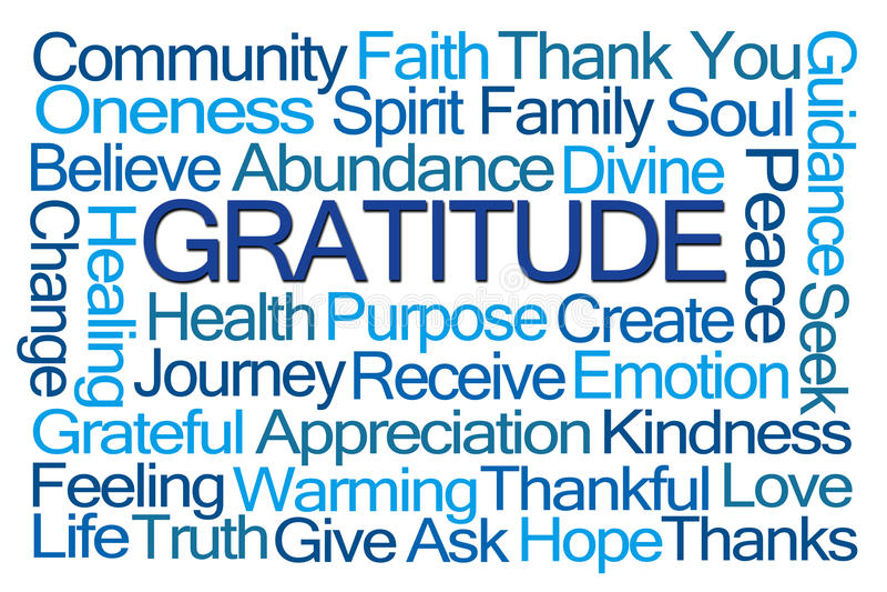 Dankbarkeits-Wort-Wolke lizenzfreie abbildung