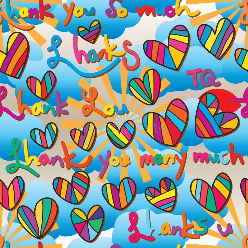 Danke, erscheinen Schreibenswolkensonne in meinem nahtlosen Muster des Herzens stock abbildung