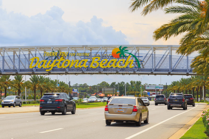 Danke für das Besuchen von Daytona- Beachzeichen stockfoto
