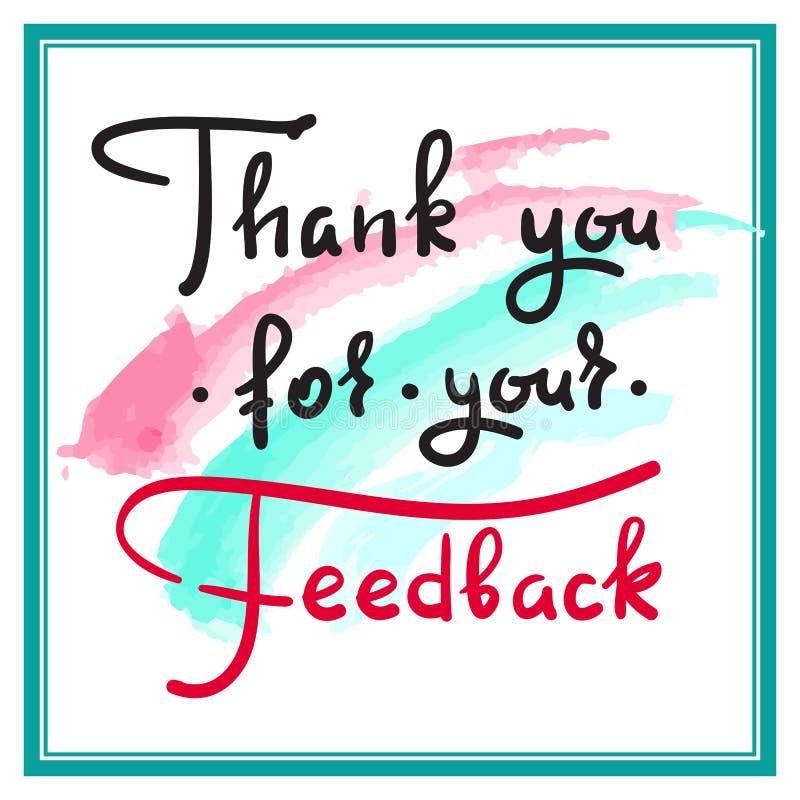 Danke für Ihr Feedback - einfaches dankbares Zitat Hand gezeichnete schöne Beschriftung stock abbildung