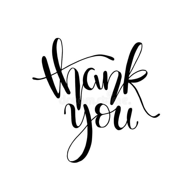 Danke handgeschriebene Aufschrift Hand gezeichnete Beschriftung Dankt Kalligraphie Auch im corel abgehobenen Betrag stock abbildung