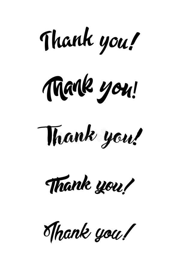 Danke handgeschriebene Aufschrift Hand gezeichnete Beschriftung Danke Kalligraphie Danke zu kardieren Auch im corel abgehobenen B lizenzfreie abbildung
