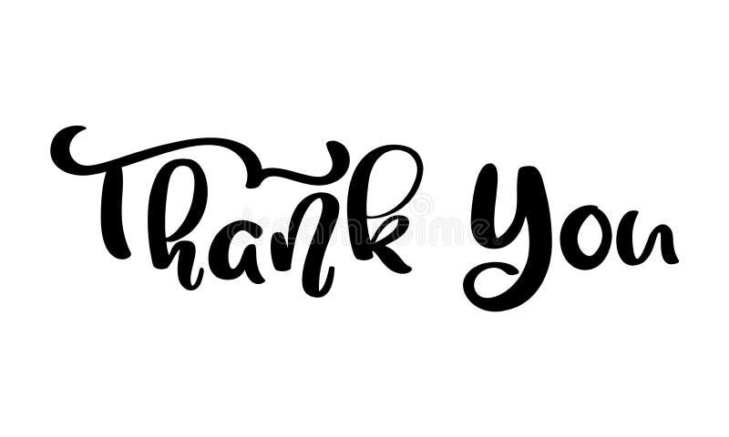 Danke Handgezogener kalligraphischer beschriftender Text Handgeschriebene Vektorillustration für Grußkarte, Druck auf Becher, Umb lizenzfreie abbildung
