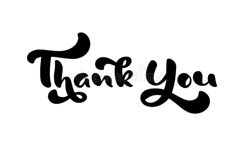 Danke Handgezogener kalligraphischer beschriftender Text Handgeschriebene Vektorillustration f?r Gru?karte, Druck auf Becher, Umb stock abbildung
