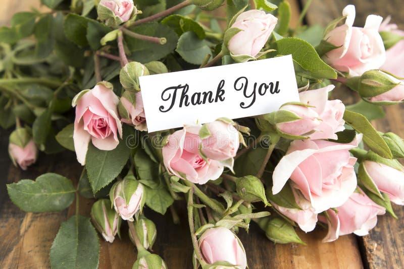 Danke, mit Blumenstrauß von rosa Rosen zu kardieren lizenzfreie stockfotos