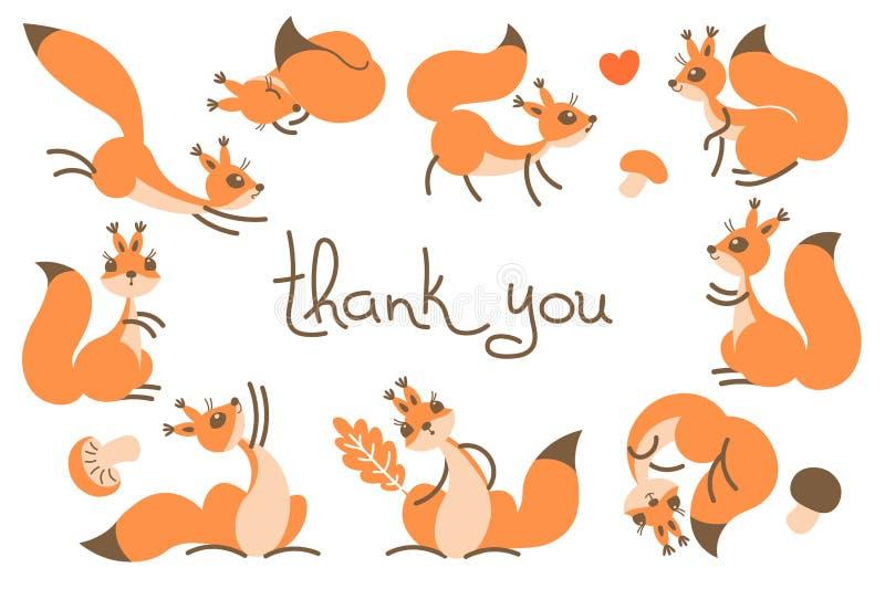 Danke, mit netten Eichhörnchen zu kardieren lizenzfreie abbildung