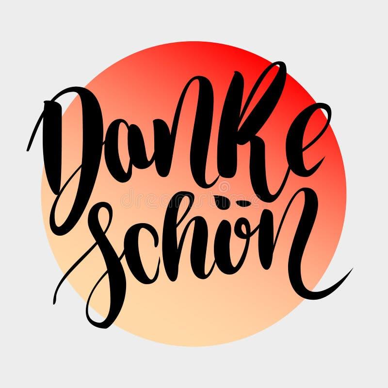 Danke Schoen Obrigado no alemão Rotulação tirada mão da escova do vetor no inclinação colorido isolada no fundo cinzento ilustração do vetor
