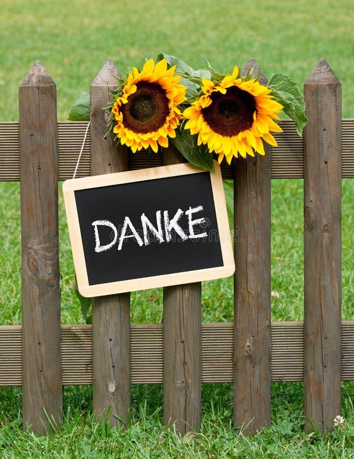 Danke-Tafel auf Zaun stockfoto
