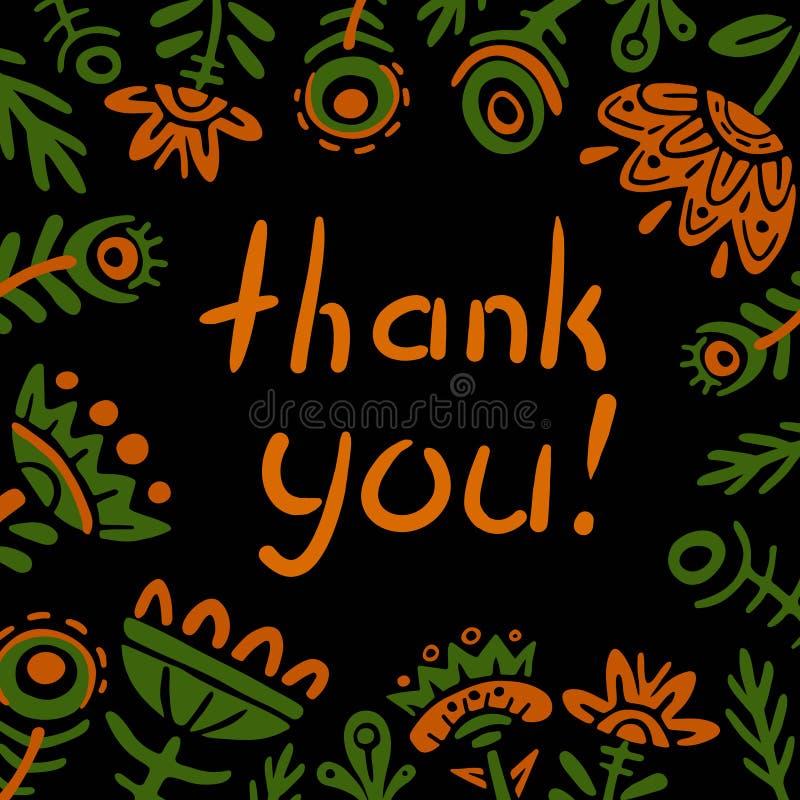 Danke zu kardieren Vektorillustration des quadratischen Rahmens der Gekritzelblumen flache Fabelhafte Anlagen auf schwarzem Hinte stock abbildung