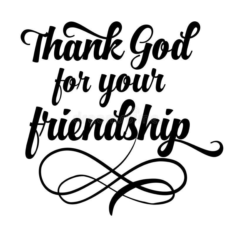 Danken Sie Gott für Ihre Freundschaft lizenzfreie abbildung