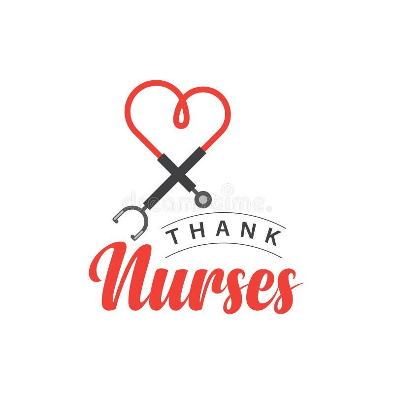 Danken Sie Krankenschwester-Vektor-Schablonen-Entwurfs-Illustration vektor abbildung