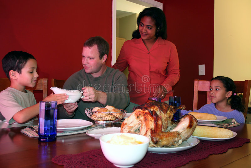 Danksagungs-Familien-Abendessen stockfotografie