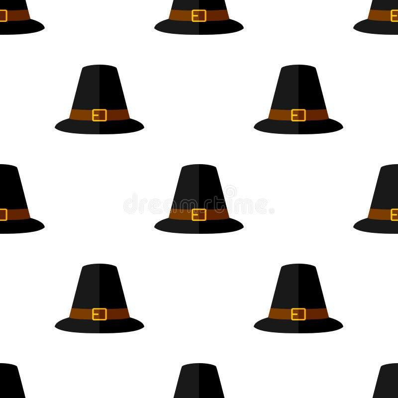 Danksagungs-Hut-flache Ikonen-nahtloses Muster lizenzfreie abbildung