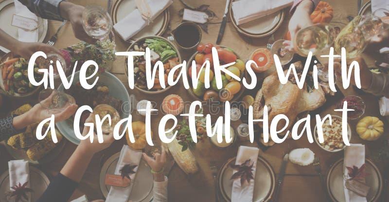 Danksagungs-Segen, der dankbares Mahlzeit-Konzept feiert lizenzfreie stockbilder