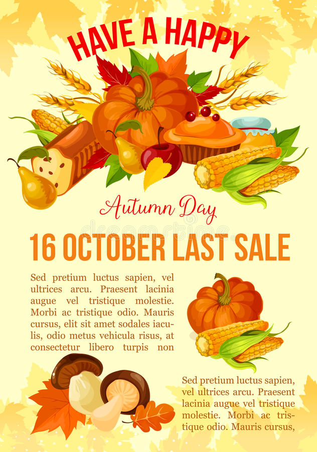 Danksagungs-Tagesfahne der Herbstverkaufsschablone lizenzfreie abbildung
