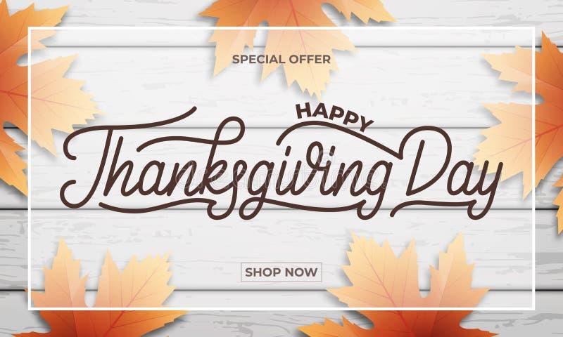 Danksagungs-Tagesverkauf Fahnendesign für Danksagungsverkauf, Förderung, usw. Danksagungs-Tagesbeschriftung, Fallblätter und stock abbildung