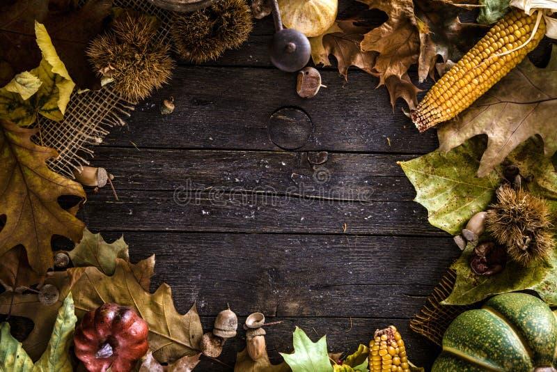 Danksagungsabendessen auf Holz lizenzfreies stockfoto