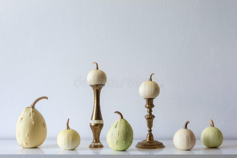 Danksagungsdekoration Minimaler Herbst spornte Raumdekoration an Auswahl von verschiedenen Kürbisen auf weißem Regal stockfoto
