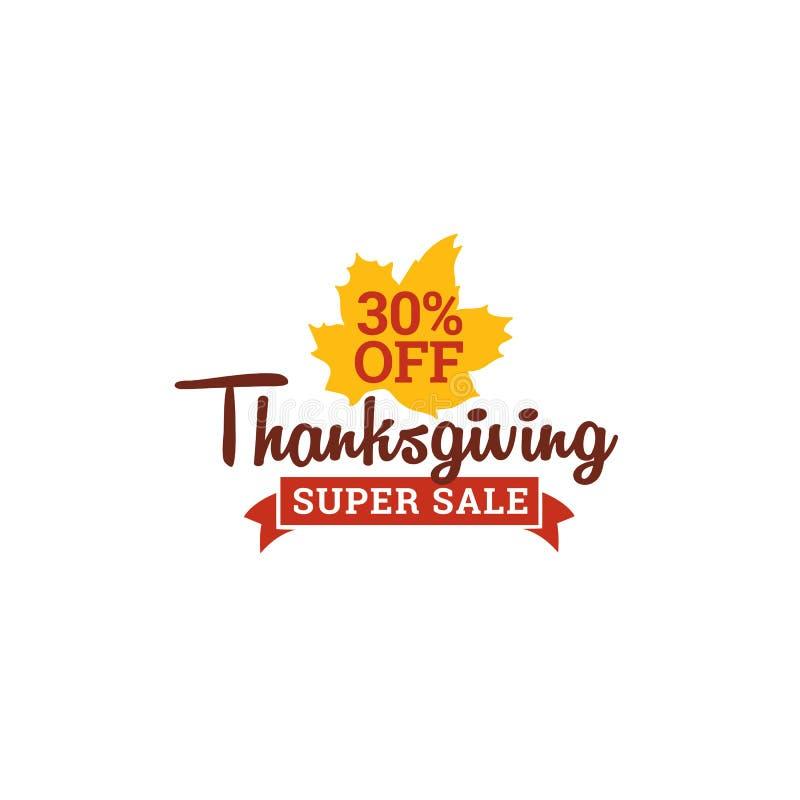 Danksagungssuperverkauf 30% weg vom Ausweis Typografie mit Blatt-Vektorillustration des Herbstfalles trockener Element für on-lin lizenzfreie abbildung