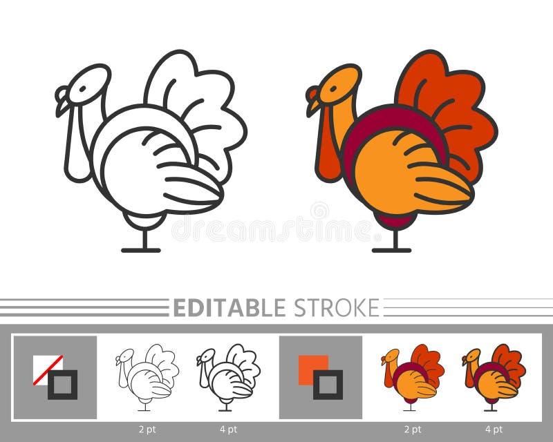 Danksagungstagestruthahnlinie editable Anschlag der Ikone stock abbildung