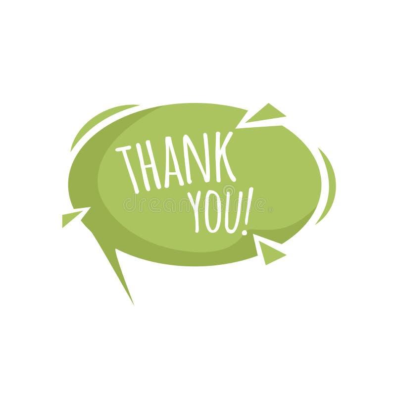 Dankt de groene de toespraakbel van het beeldverhaal in ontwerp met binnenschaduw en u proefuitdrukking Vlak stijl modern pictogr stock illustratie