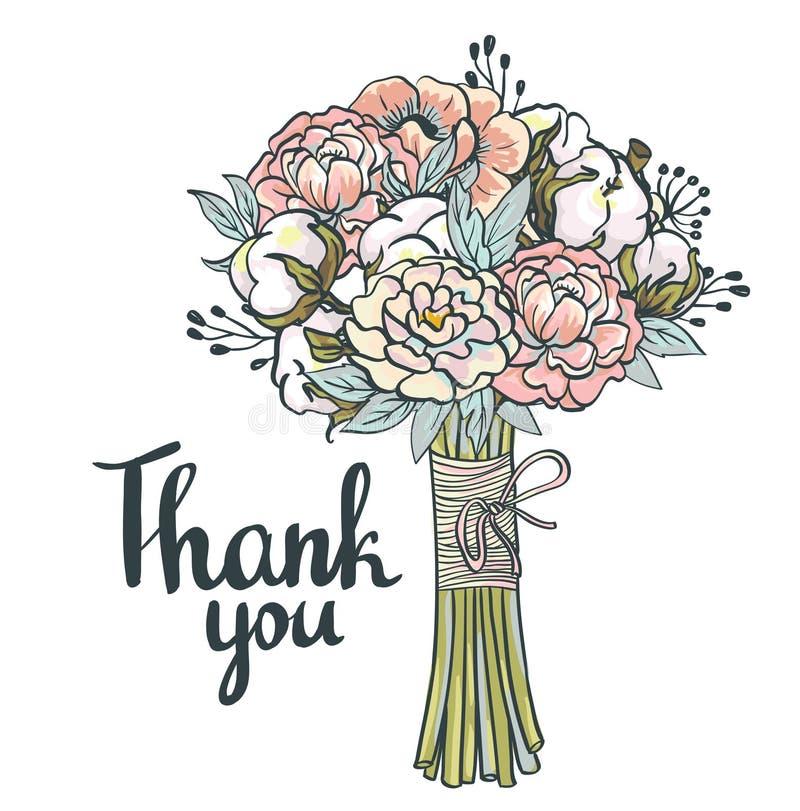 Dankt de hand getrokken tuin bloemen u kaardt stock illustratie