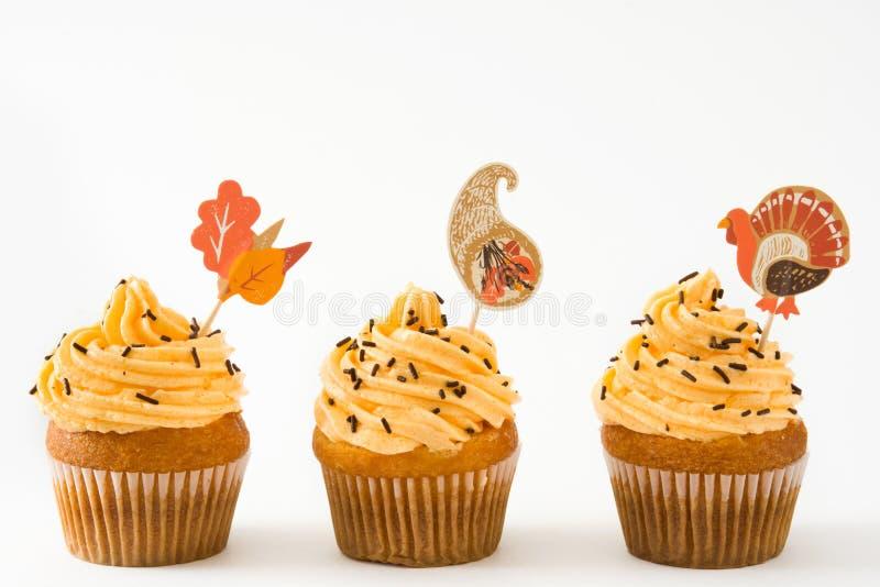 Dankzegging cupcakes op witte achtergrond royalty-vrije stock foto