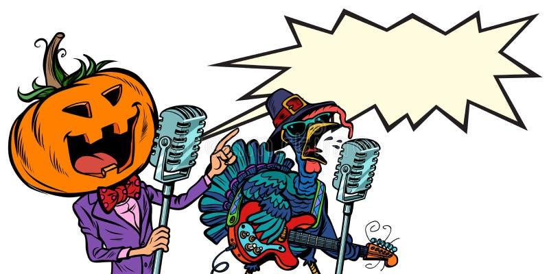 Dankzegging en Halloween-muziekfestival Pompoen en Turkije vector illustratie