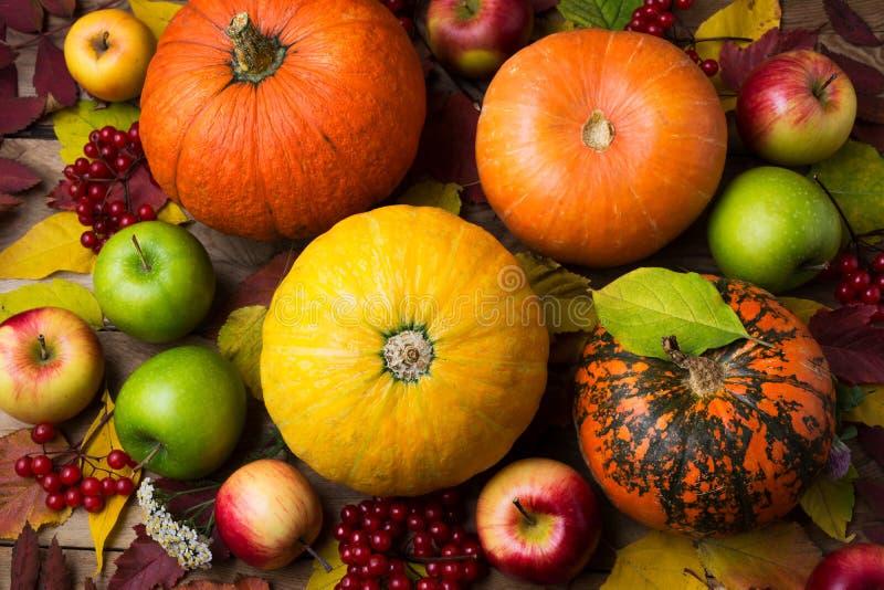 Dankzeggingsachtergrond met oranje en gele pompoenen, dalingsbladeren, groene appelen royalty-vrije stock fotografie