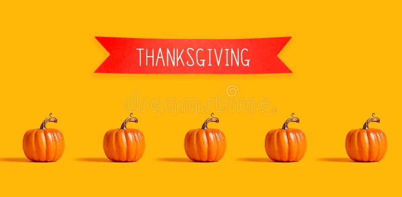 Dankzeggingsbericht met oranje pompoenen vector illustratie