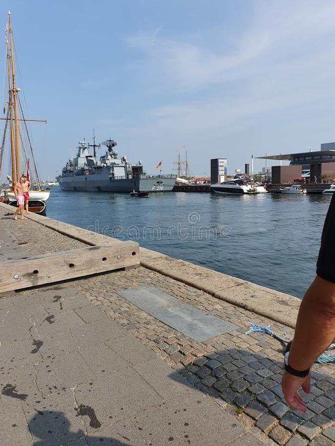Danmark. Happy, military, boats, sky royalty free stock images