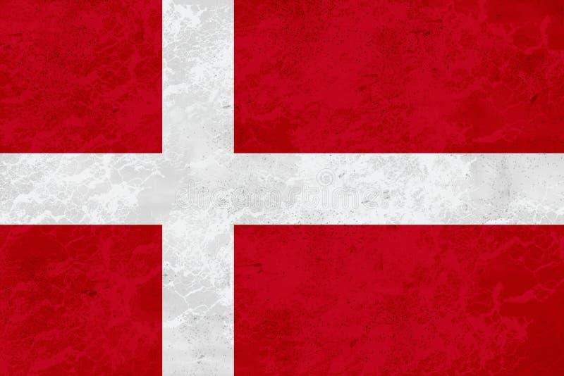 Danmark flagga - marmortextur arkivbild