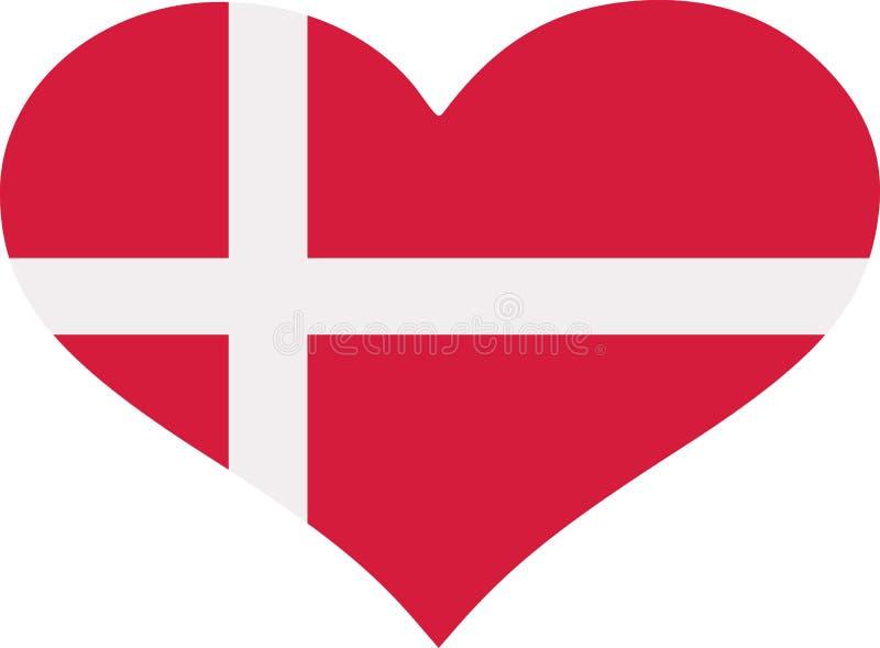 Danmark flaggahjärta royaltyfri illustrationer