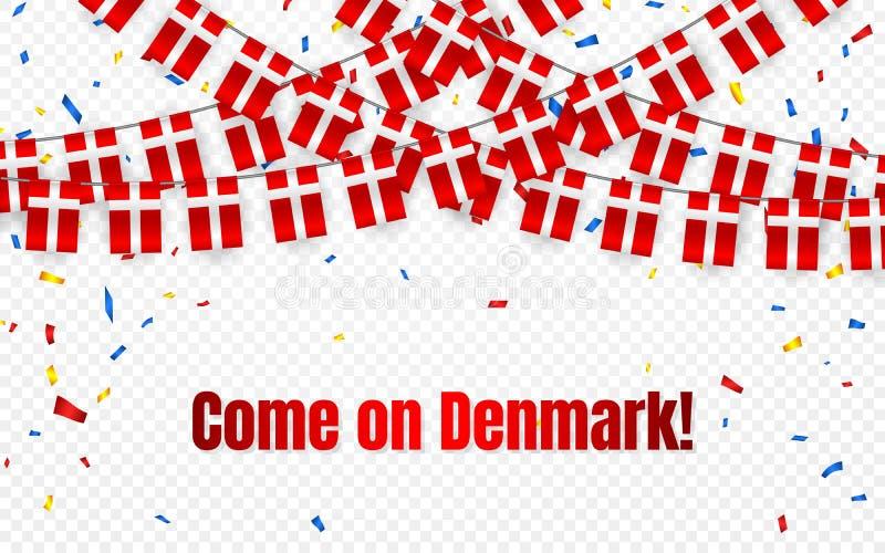 Danmark girlandflagga med konfettier på genomskinlig bakgrund, hängningbunting för berömmallbanret, vektorillustration royaltyfri illustrationer