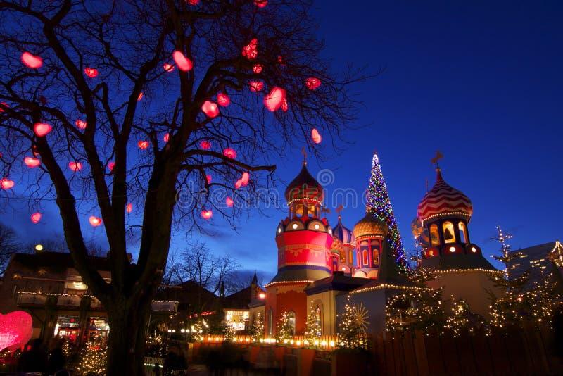 Danmark: Julatmosfär i Tivoli royaltyfri foto