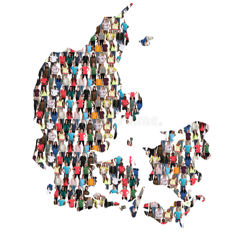 Danmark map multicultural group of people integration immigration diversity. Isolated royalty free stock photo