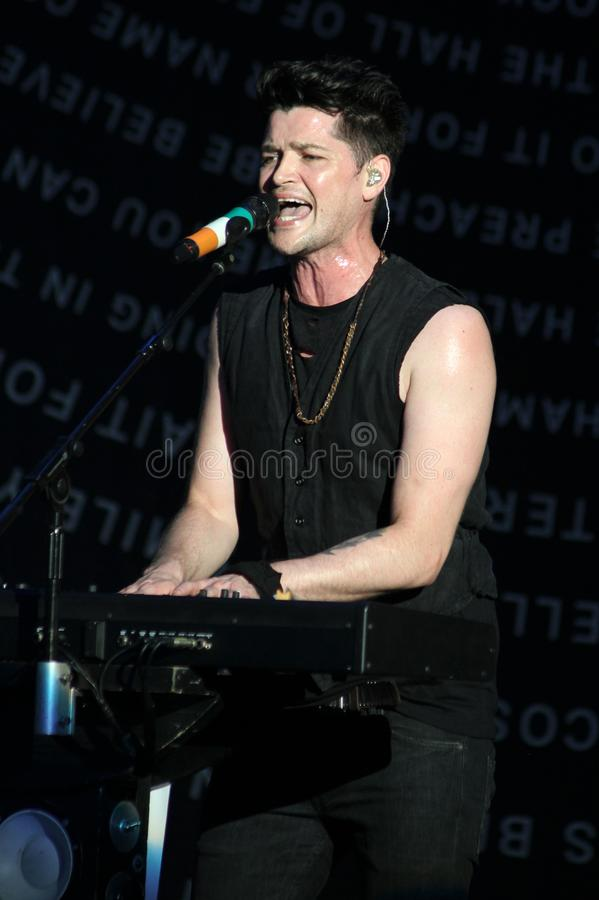 The Script Performs in Concert. Danny O`Donoghue with The Script performs in concert at the Cruzan Amphitheatre in West Palm Beach, Florida on August 17, 2014 royalty free stock photography