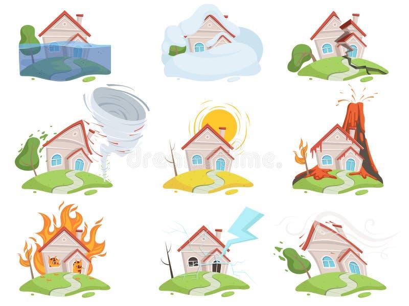 Dano do desastre da natureza Imagens dos desenhos animados do vetor do tsunami da destruição da árvore do vento da água do vulcão ilustração stock