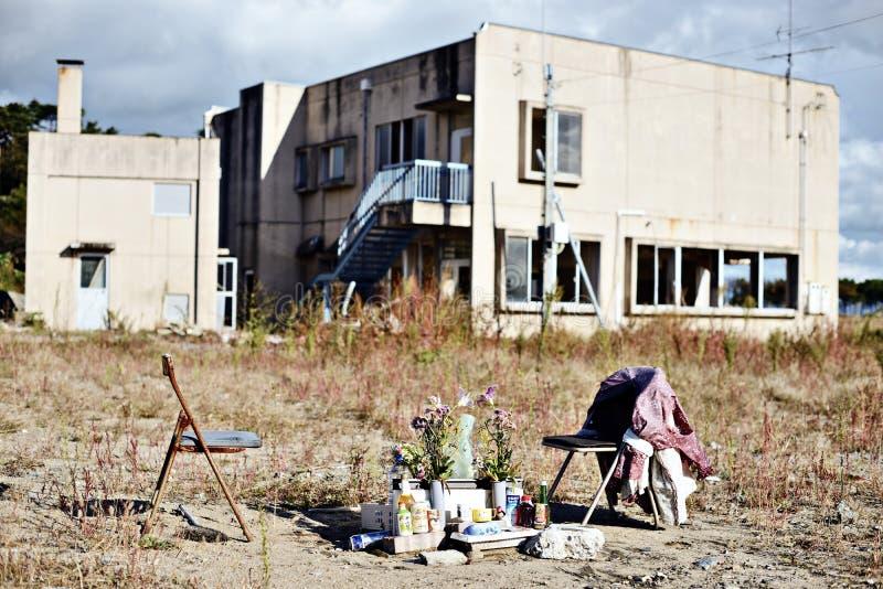Dano do terremoto e do tsunami de Tohoku fotos de stock