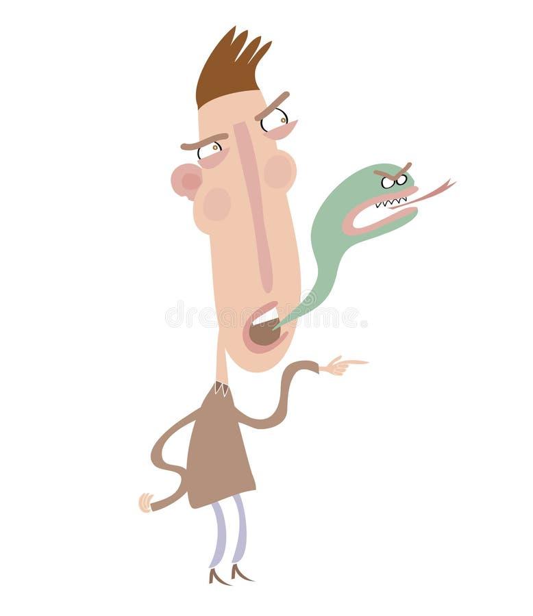 Dano irritado do homem alguém sentimentos ou mentiras ilustração do vetor