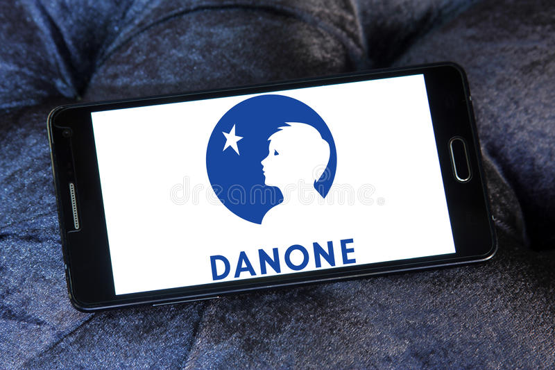 Danone logo. Logo of danone company on samsung mobile phone.danone is a world leading food company built on four business lines: Fresh Dairy Products, Waters stock photo