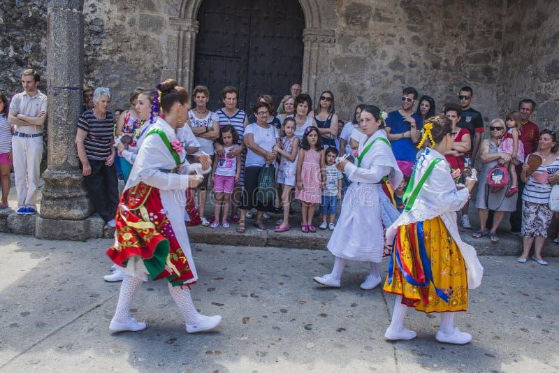 Dans av Las Italinas, också som är bekant som dansen av zigenaren av Cacer arkivfoto