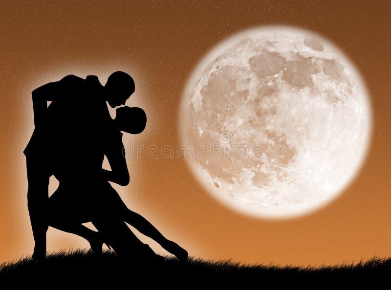 Dans in de maan royalty-vrije illustratie