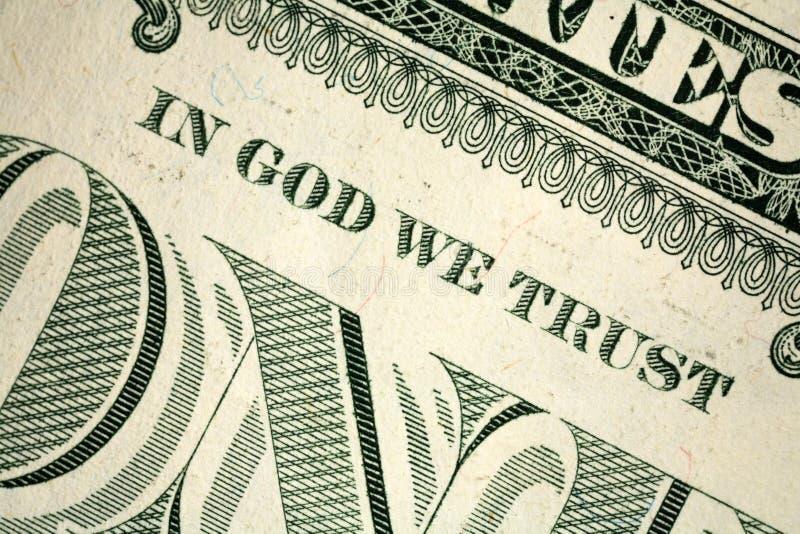 Dans Dieu nous faisons confiance photo stock